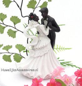 Bruidspaar taart topper gekleurde koppel