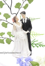 Bruidspaar als moderne taart topper