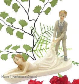 Komische mooie bruidspaar taarttopper