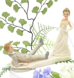 Heel mooie komische bruidspaar taart topper