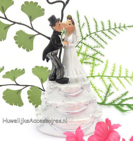 Komische leuke bruidspaar taart topper