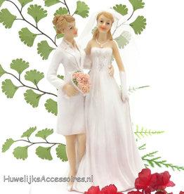 Leuke vrouwen bruidspaar taarttopper