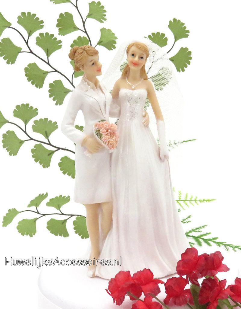Mooie lesbische bruidspaar taarttopper