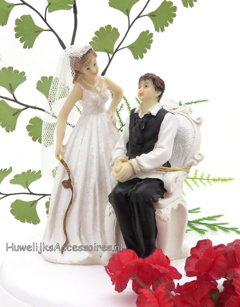 Leuke komische bruid en bruidegom taarttopper