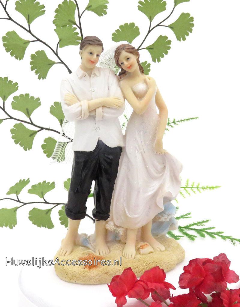 Mooie bruidspaar op het strand taart topper