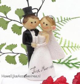 'Just Married' bruidspaar taarttopper