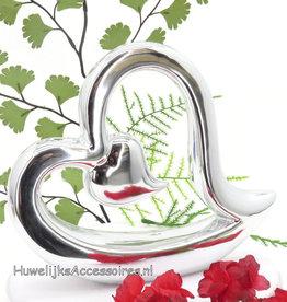 Zilver porseleinen hart bruidstaart topper