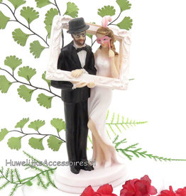 Zelfportret bruidspaar taarttopper