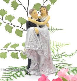 Zilveren jubileum bruidspaar taarttopper