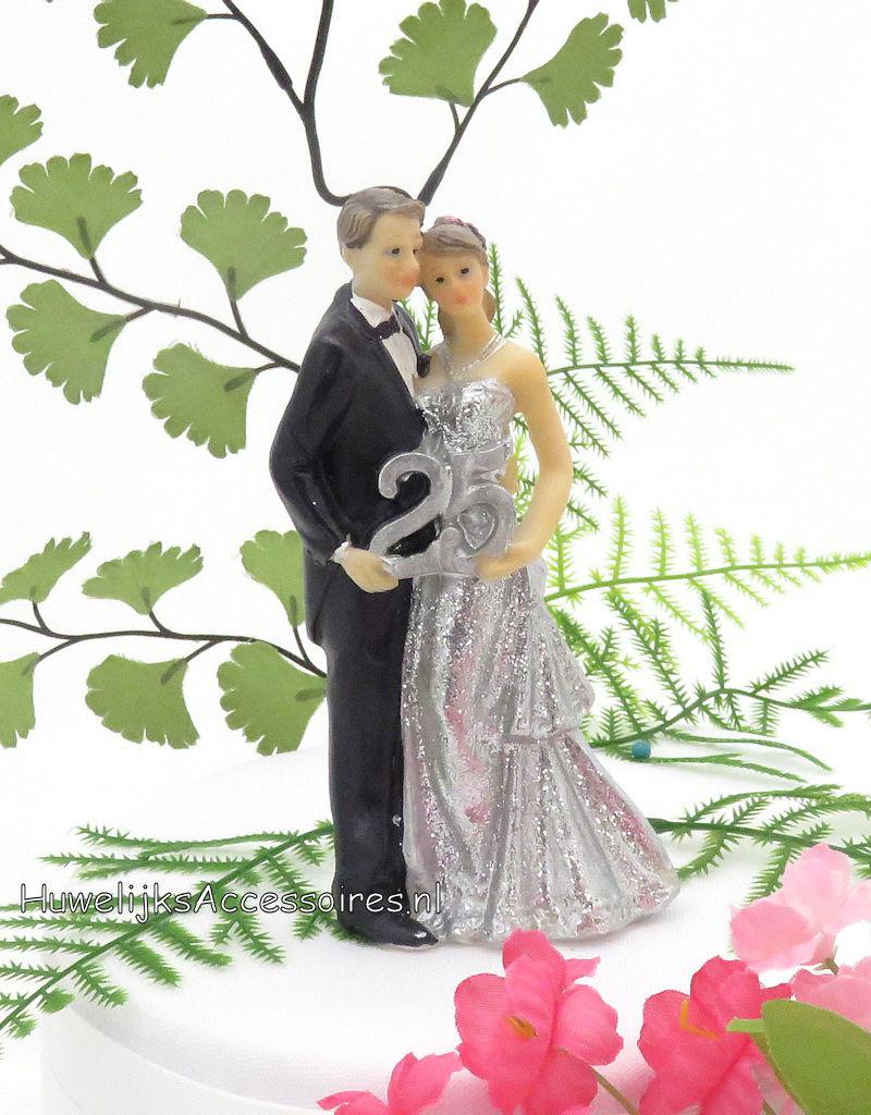 25 jaar zilver jubileum bruidspaar taarttopper