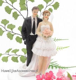 Bruid met korte trouwjurk taart topper