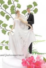Zeer elegante huwelijkspaar taarttopper
