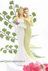 Prachtige lesbische bruidspaar taarttopper