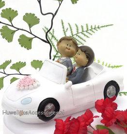 Homo huwelijks paar in een witte auto