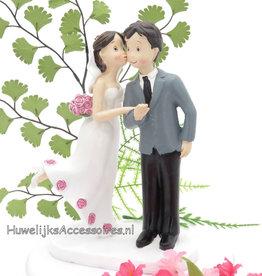 Bruidspaar 'Kus op de wang' taarttopper
