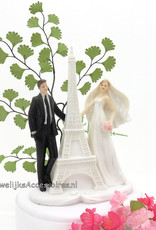 Romantische bruidspaar bij de Eiffeltoren taarttopper