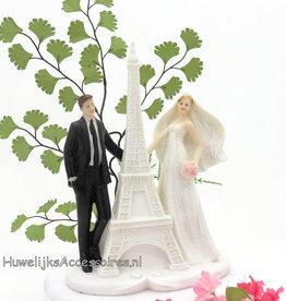 Bruidspaar bij de Eiffeltoren taarttopper