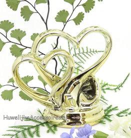 Gouden dubbel hart bruid taarttopper