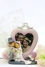 Bruidssuiker met fotolijstje verpakt in tule