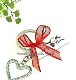 Strass hart sleutelhanger trouw bedankjes