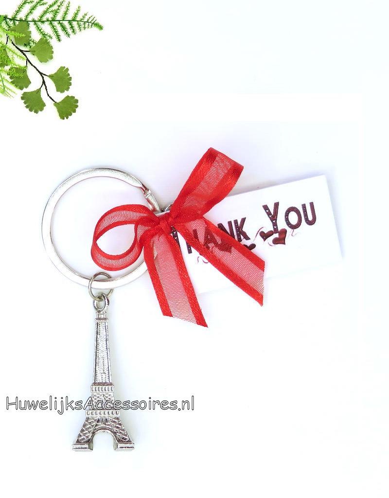 Bruiloft bedankje met Eiffeltoren sleutelhanger