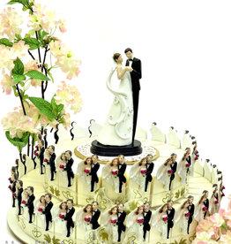 Bruiloft bedankjes taart met bruidsparen