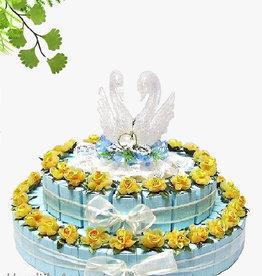 Gouden gele bloemen bedankjes taart
