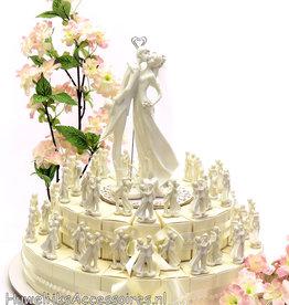 Bedankjestaart met witte bruidsparen
