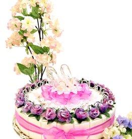 Huwelijk bedankjes met zilver ringen en bloemen