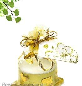 Gouden organza zakje met theelichtje