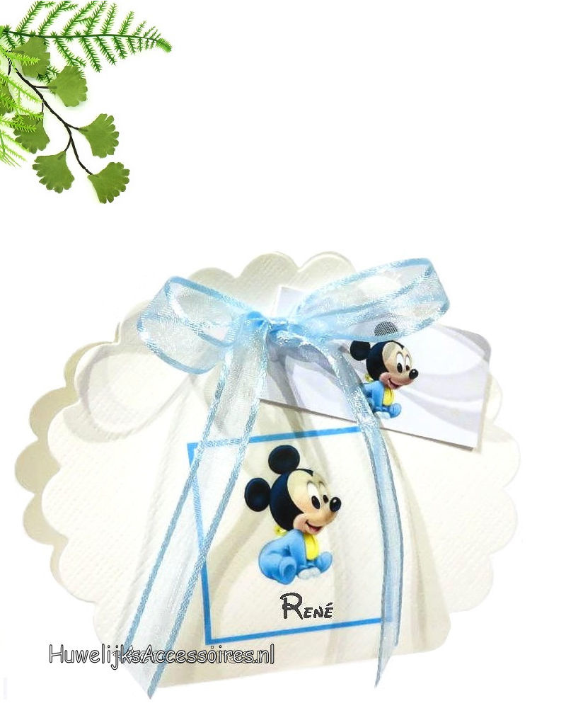 Disney Bedankje waaier doosje met daarop Mickey Mouse