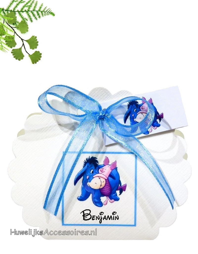 Disney Bedankje als waaier doosje met Eeyore en Piglet erop