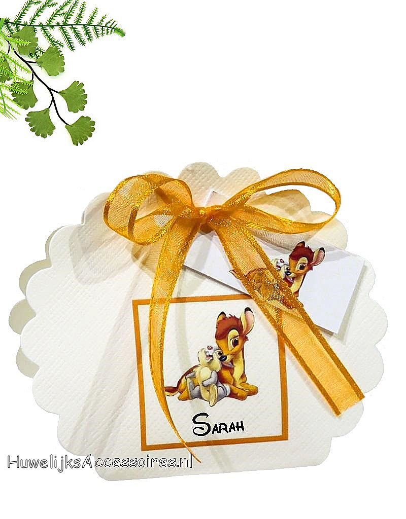 Disney Geboorte bedankje met Bambi en Stamper erop