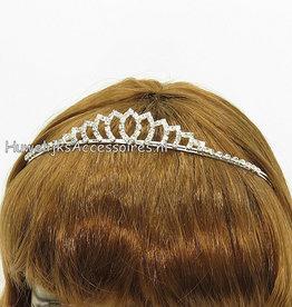 Bruid tiara zilver met strass steentjes