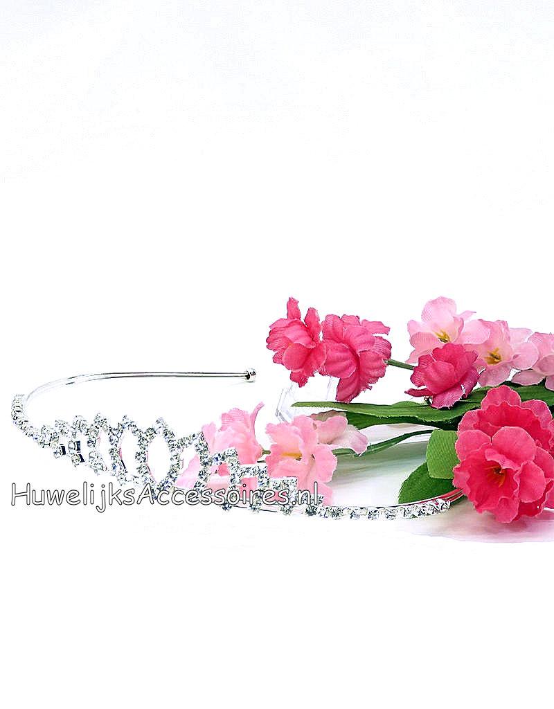 Bruid tiara zilverkleurige met strass steentjes