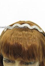 Zilverkleurige bruid diadeem/tiara met strass steentjes