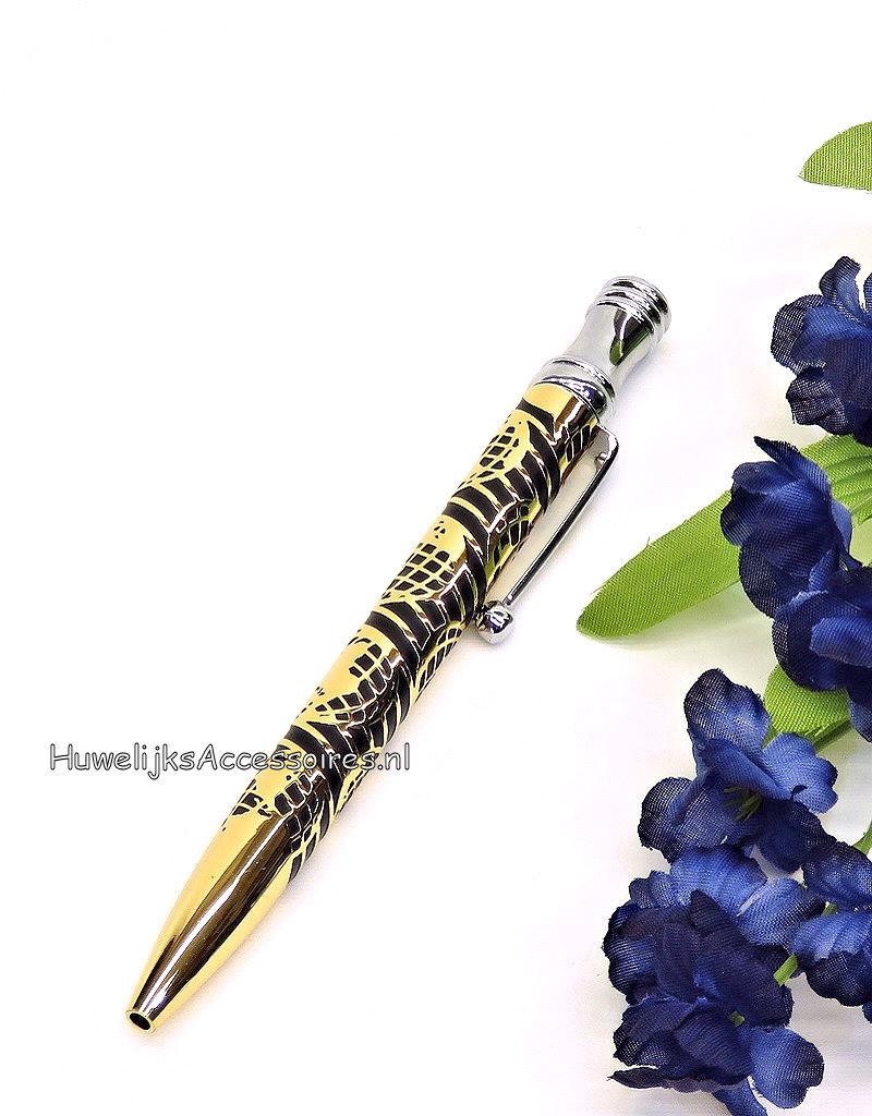 Prachtige zwart en goud receptie pen voor uw bruiloft