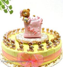 Geboorte bedankjes met roze beertjes