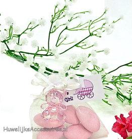 Baby shower zakje met een roze beertje