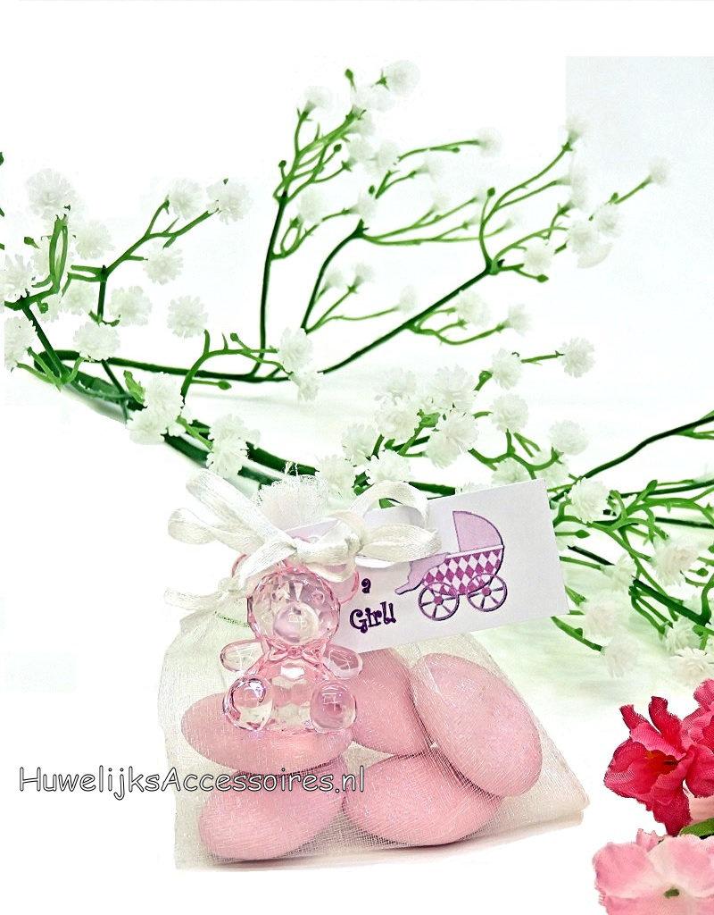 Organza zakje wit met een leuke roze beertje