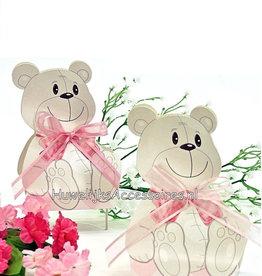 Roze beer geboorte bedankje