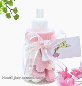 Baby flesje roze met wit suiker hartjes