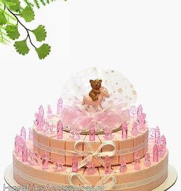 Bedankjes met roze babyflesjes en paardjes