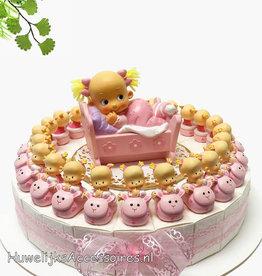 Bedankjes met baby's in roze wagentjes