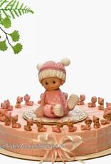 Doop bedankjes versierd met roze kruipende baby's