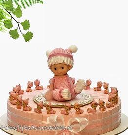 Geboorte bedankjes versierd met roze baby's