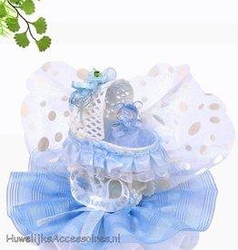 Baby blauwe kinderwagen taarttopper