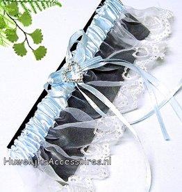 Kousenband blauw en wit
