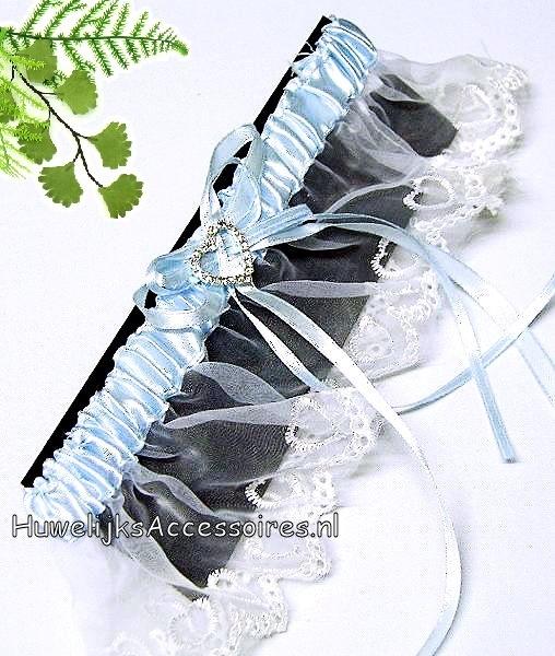 Kousenband blauw wit met een mooi strass hartje