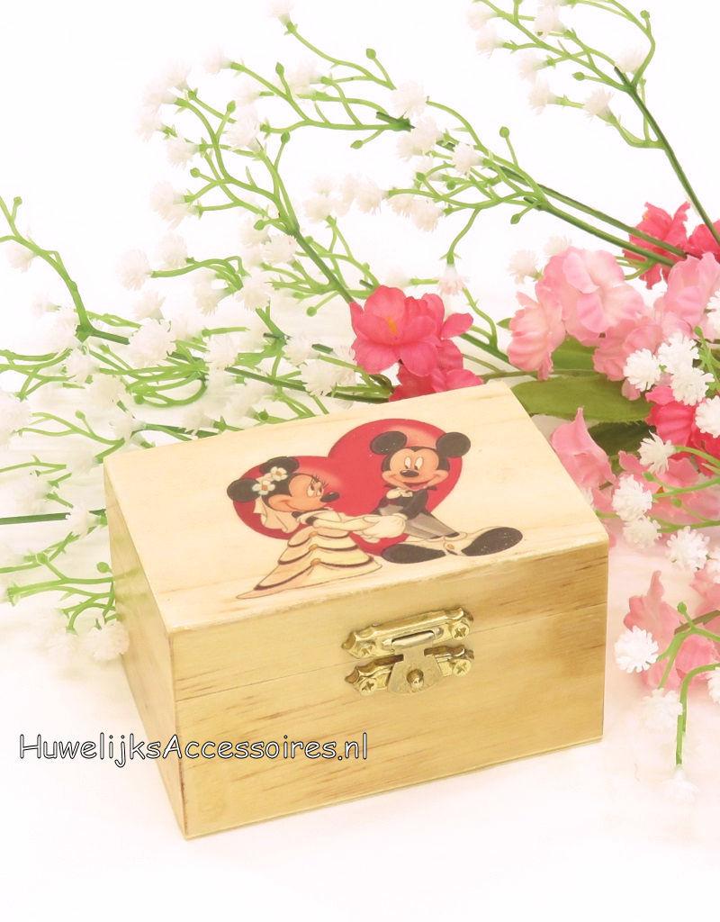 Disney Mickey en Minnie rood hart trouwring doosje